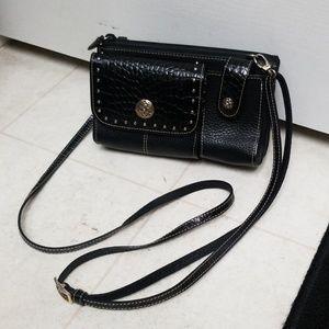 BRIGHTON black leather crossbody organizer purse